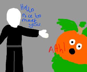 Slenderman greets a shocked pumpkin.