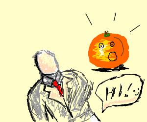 Slenderman mooning an orange. His butt says h
