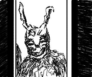 Donnie Darko's bunny in the doorway