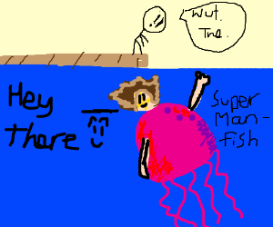 man looking at the super manfish (a jellyfish)