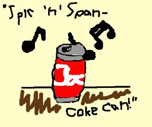 spic and span Coke can (w/ Coca Cola slogan)