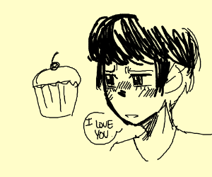 man confessing his feelings for a cupcake
