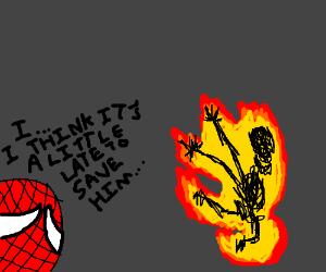 spiderman heals burning skeleton friend