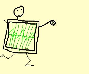 EKG man running with a happy shrunken head.