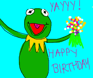Please draw 'yaaaaay!' Kermit for my birthday!
