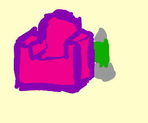 A pink couch next to a large green lava lamp