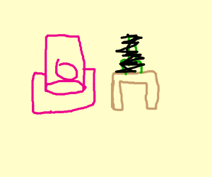 Pink armchair and a NSFW object.