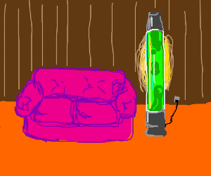 a lit tall green lamp next to a pink sofa