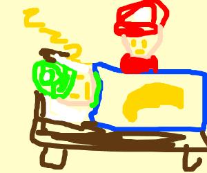 Luigi sleeping while Mario watches him