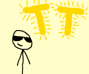 """a sunglasses guy with two """"T""""-shapped suns"""