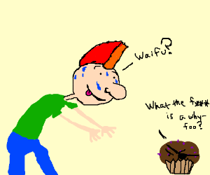 Spiky haired guy thinks a cupcake is his waifu