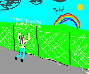 Rainbow hair anorectic man's happiness stolen