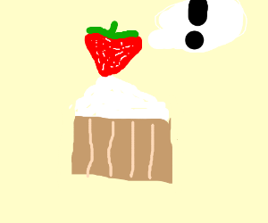 A strawberry cupcake exclaiming