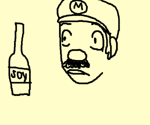Mario is awed by an empty soy bottle