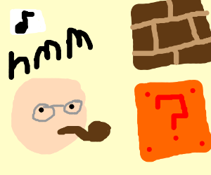 man with glasses ponders about mario's blocks