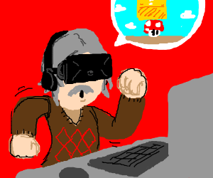 Old man plays Mario game on Oculous Rift