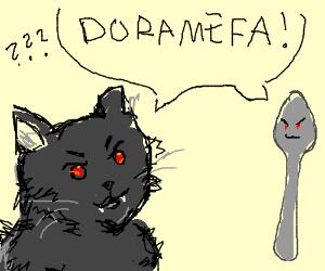 "Demon cat and demon spoon say ""DORAMEFA"""