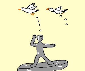 Silver surfer gets pooped on by seagulls