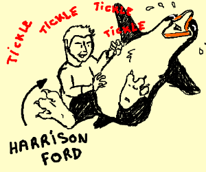 Harrison Ford tickles a penguin to death