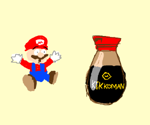 Mario dazzled by a bottle of Soy Sauce