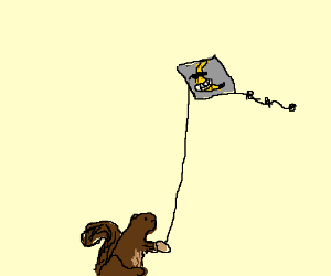 Squirrel flies kite with happy banana