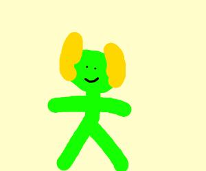 green goblin with yellow ears
