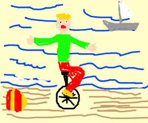 riding a unicycle along the beach