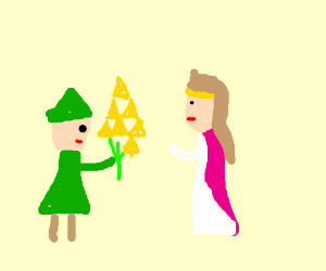 Link gives triforce flowers to Zelda