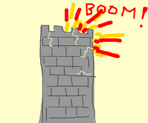 A giant tower with an explosion in the back
