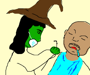 Witch dentist begins work on drooling patient
