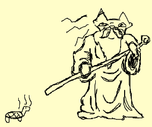 wizard fox mind controlling a snapping turtle