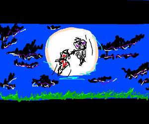 Ninjas battle in a moonlit sky. 16:9 letterbox