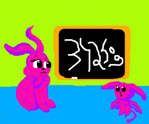 Pink creatures study symbols on a blackboard