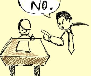 Child denied wish to write on certain paper
