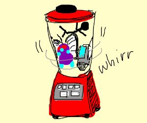 Stickman, Butterfree & a printer in a blender