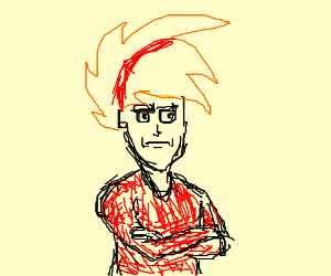 Anime lad with red streak in hair looks miffed