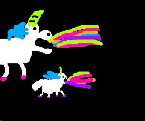 unicorns throwing up rainbows drawception