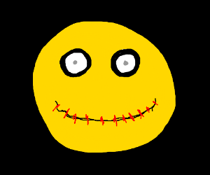 Creepy smiley stares at your soul