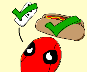 Deadpool tries to justify dominoes and hotdogs