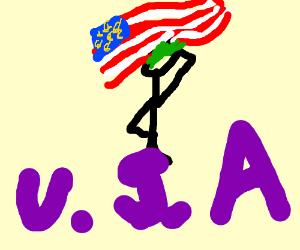 Good-ol'- U.S.A Man infront of American Flag