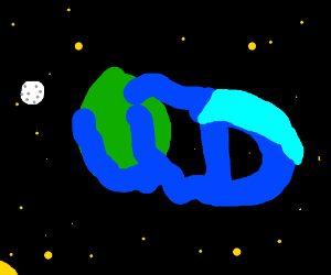 water leaves planet to form a strange logo