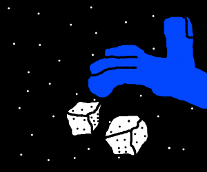 huge blue hand playing dice in space