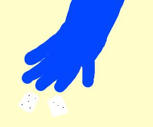 Blue God rolls dice