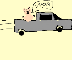 """Geico pig Max, """"wees"""" all the way home."""