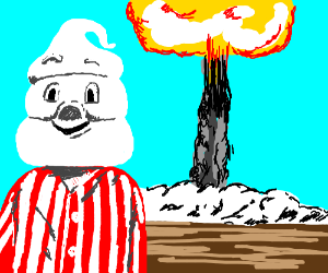 Whipped cream head in pajamas, nuke behind him
