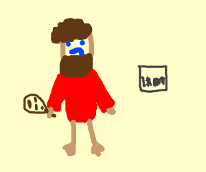Neanderthal with red sweater wakes at 2:11 AM