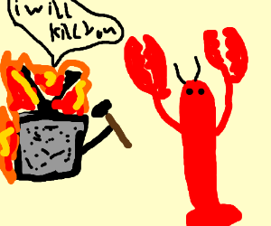 Tv on fire with hammer attacks lobster
