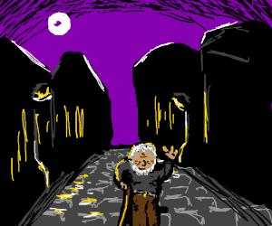 Hello, eldery man walking the night streets!