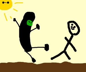 Ninja Pickle attacks defenseless man.