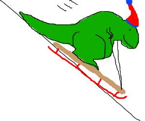 Dinosaur on a sled